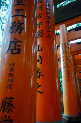 Japanese writing at Fushimi Inari torii
