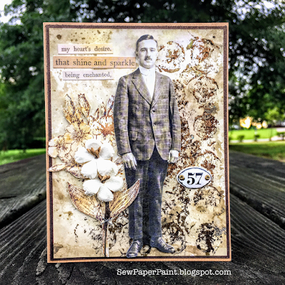 Frilly and Funkie: Saturday Showcase - Mixed Media Foiling Technique with SewPaperPaint #mixedmedia #timholtz #cardmaking #tutorial #technique #ideaology #rangerink #foiling #gluestick #sizzix #foundrelatives #paperdolls #distressink #distressoxide #vintage #stencil #diecut #cards #sewpaperpaint #autumnclark