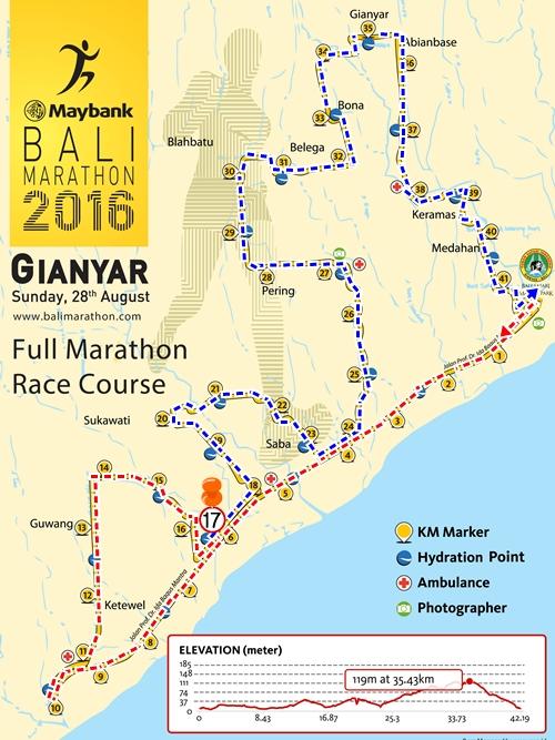 バリマラソン2016 フルマラソン42.195㎞ コースマップ☆ギャニアール