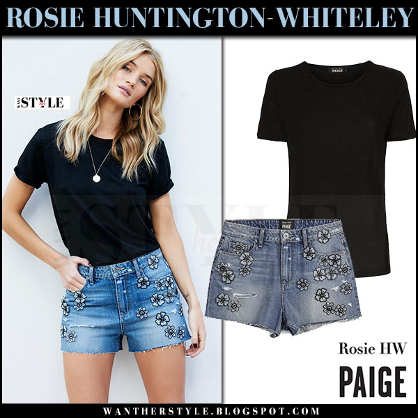 Rosie Huntington-Whiteley in black tee and denim floral embellished shorts ROSIE HW X PAIGE what she wore 2017