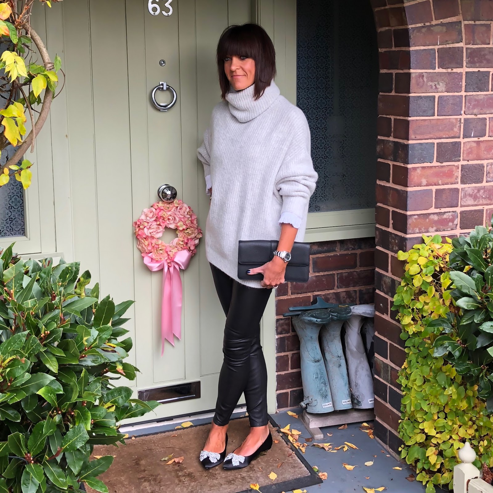 my midlife fashion, house of fraser, dune bluebelle flat pointed court shoes, zara oversized chunky knit polo neck jumper, ralph lauren lauren clutch bag, uniqlo high collar frill detail blouse, massimo dutti leather leggings