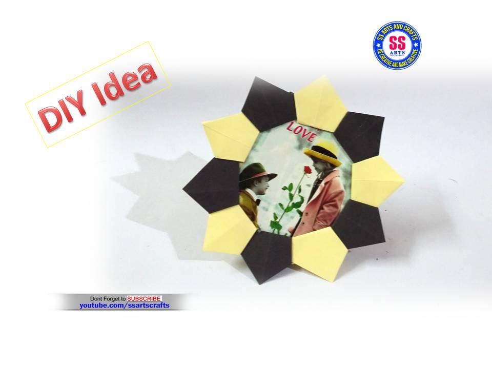 Origami - Picture Frame (Sunburst Motif ) & Stand / 종이접기 ... | 720x960