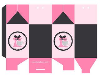 Caja para Imprimir Gratis de Horneando en Rosa.