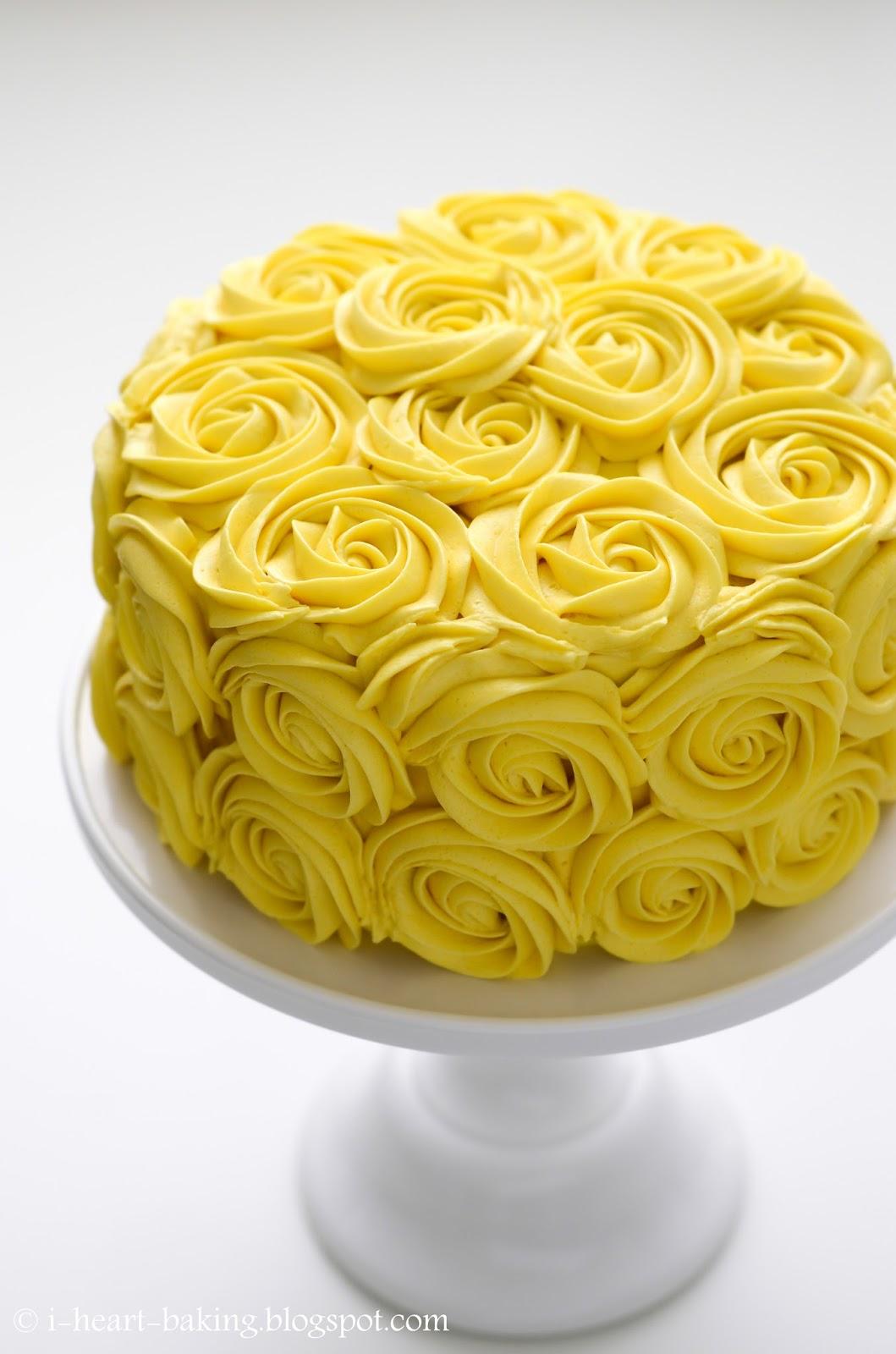 I Heart Baking Yellow Roses Birthday Cake