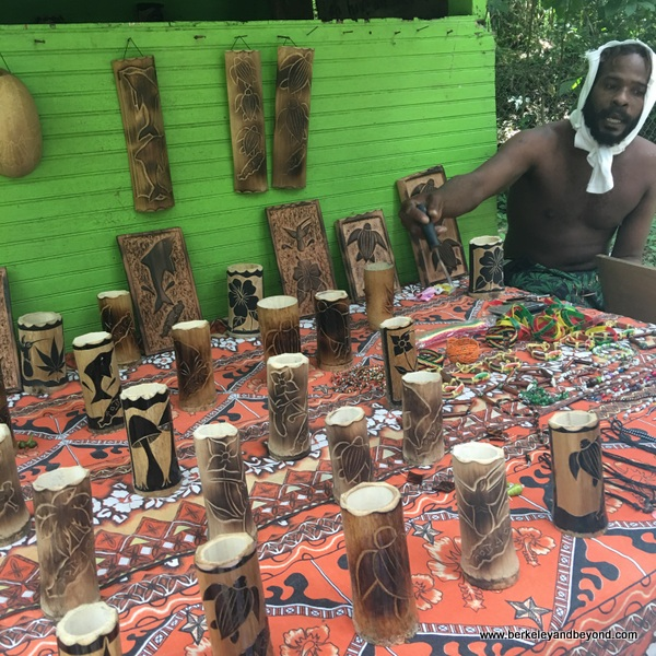 carved bamboo souvenirs on trail to Argyle Waterfall in Rosborough, Tobago