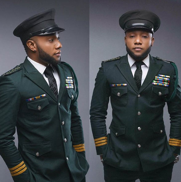 """Five State General:"" Kcee hails himself as he poses in military outfit"