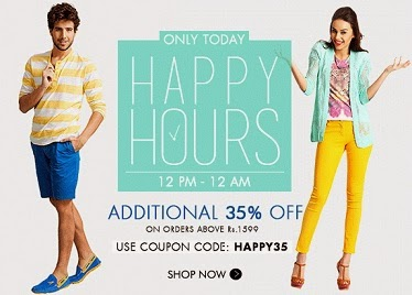 Myntra Happy 12 Hour Sale: Flat 35% Extra Off on Men's / Women's Clothing , Footwear & Accessories (From 12.00PM to 12.00AM Today)