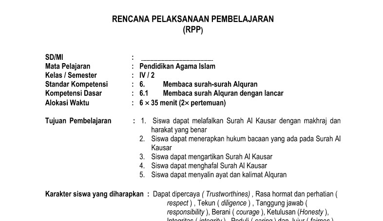 RPP PAI SD Kurikulum 2013 Doc Semester 2