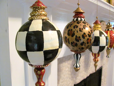 "large 10"" finial style hand painted check ornaments"