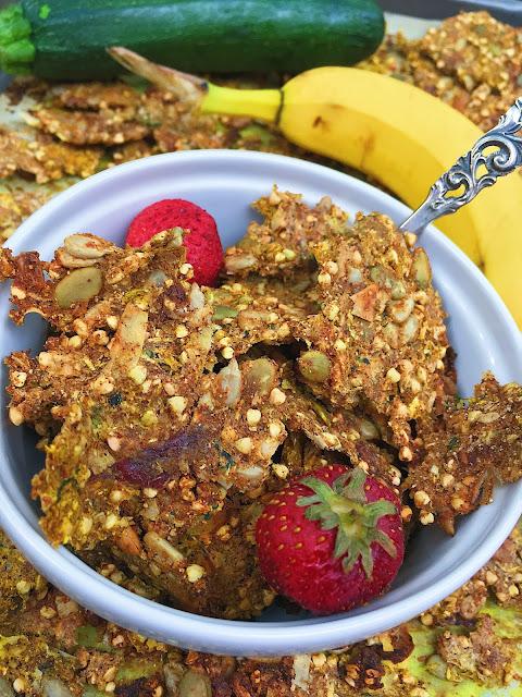 Super Clumpy Gluten Free Summer Squash Granola (Oil Free, Sugar Free)