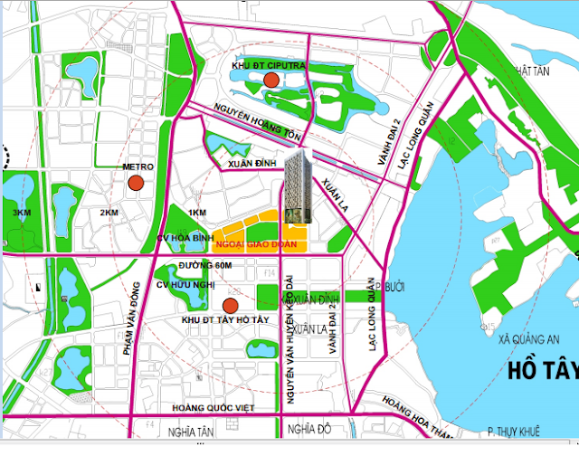 Phối cảnh quy hoạch xung quanh khu đô thị Ngoại giao đoàn