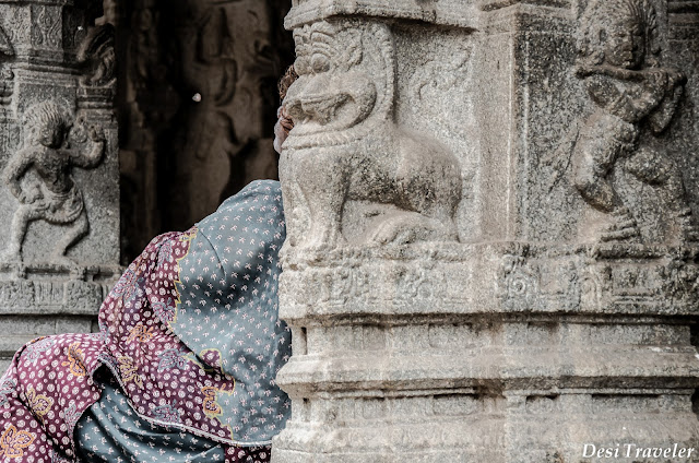 resting after visiting the temple in Hampi
