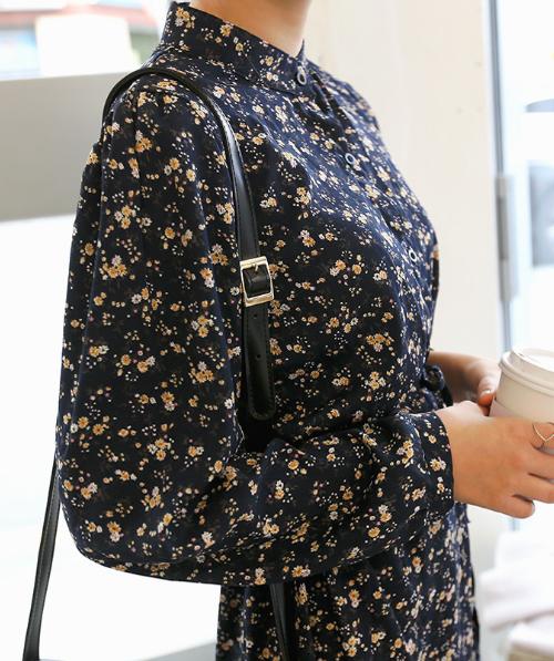Collarless Floral Patterned Frilled Hem Long Dress