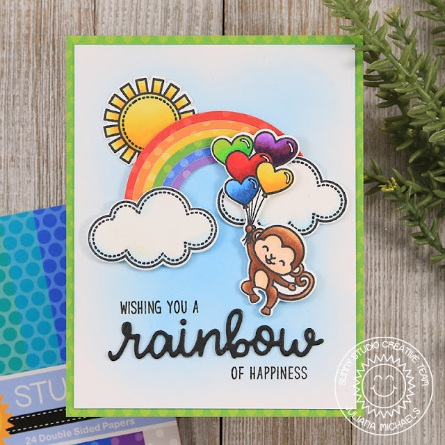 Sunny Studio Stamps: Over The Rainbow Rainbow Word Die Love Monkey Rainbow of Happiness Card by Juliana Michaels