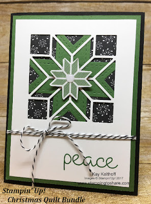 Gorgeous card with the Stampin' Up! Christmas Quilt Bundle. How To Video Included. Created by Kay Kalthoff with Stamping to Share.