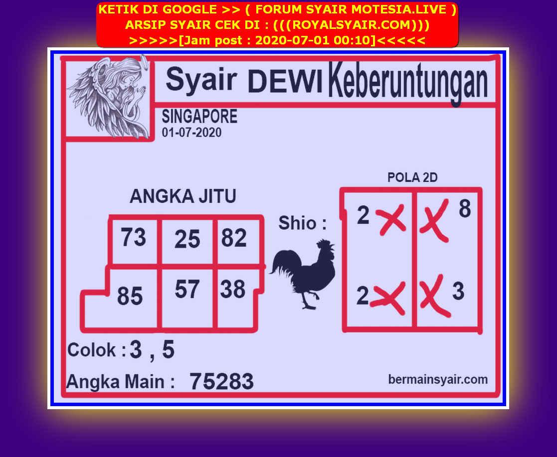 Kode syair Singapore Rabu 1 Juli 2020 197