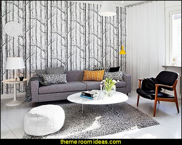 Modern Birch Tree Wallpaper Non Woven Forest Trunk Wall Paper Black&White
