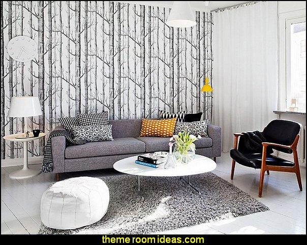 Modern Birch Tree Wallpaper Non Woven Forest Trunk Wall Paper Black&White