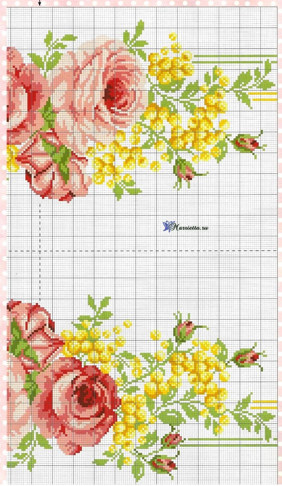 схема вышивки крестиком розу