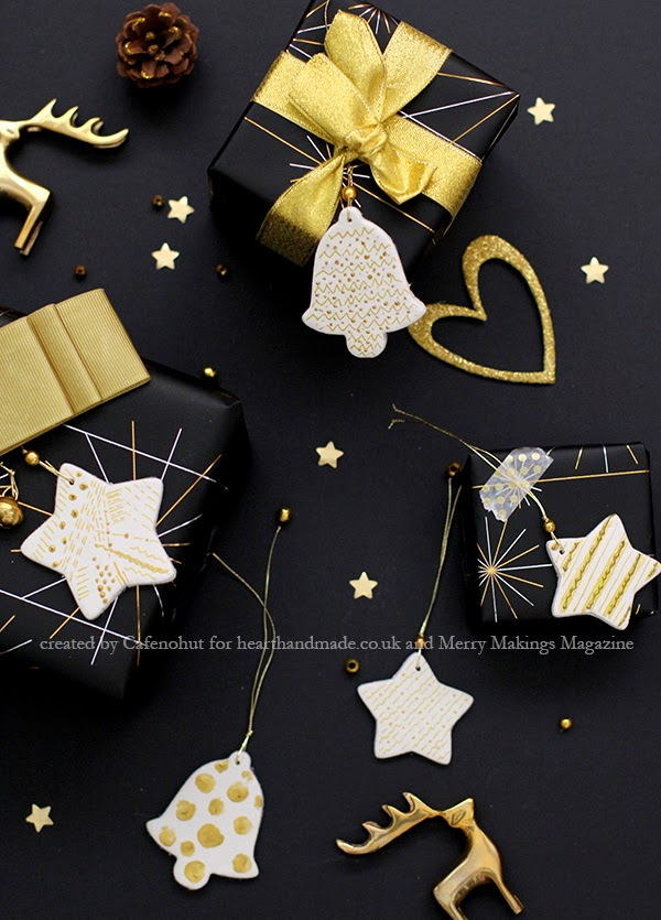 Black and gold gift wrap and clay tags tutorial