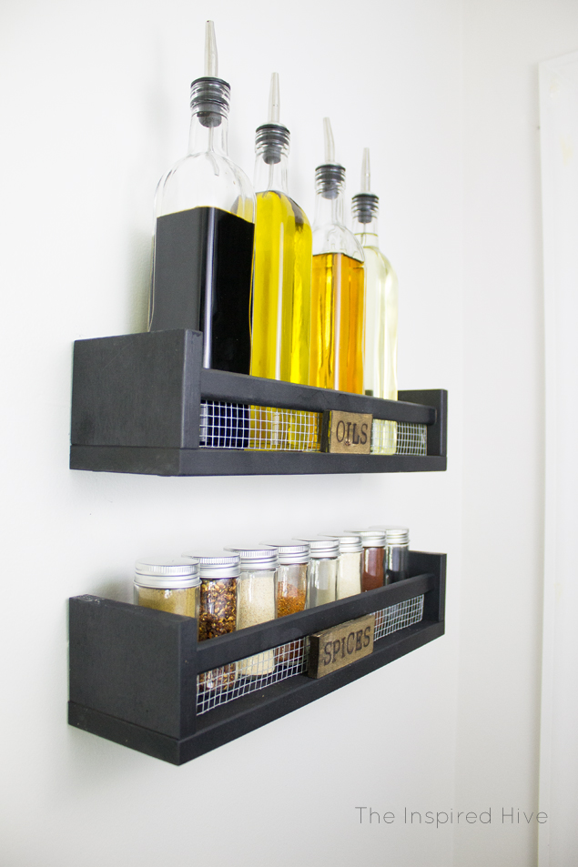 Easy Ikea Ekby hack! Industrial farmhouse spice racks with wood-burned labels.