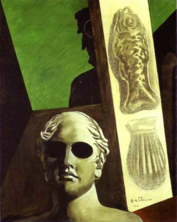 Retrato de Guillaume Apollinaire - Giorgio de Chirico ~ Representante da pintura metafísica