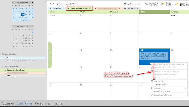 Impossible de modifier mon calendrier Googoole depuis mon Outlook !