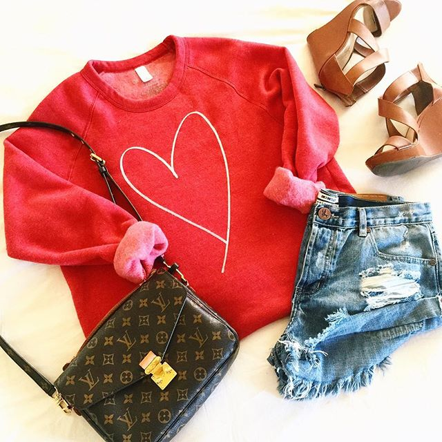 louis vuitton pochette metis, ily  couture sweatshirts, ily couture review, one teaspoon denim shorts, husk bandit one teaspoon, jessica simpson wedges, nordstrom jessica simpson wedges, tan wedges nordstrom, emily gemma, the sweetest thing blog, pinterest summer outfit ideas with jean shorts, spring outfits with jean shorts pinterest
