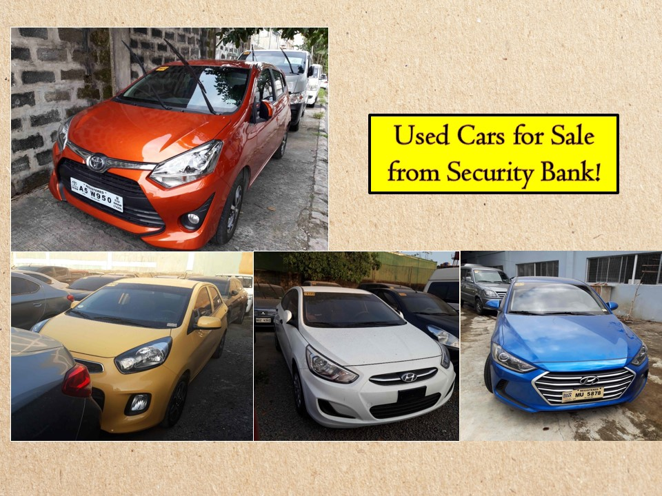 Need a car but cannot afford a brand new? Why don't you consider checking from the repossessed cars or used cars from the banks? These vehicles were repossessed by banks for non-repayment or could have been used as collateral, rented out, or leased.   Here are some you can choose from Security Bank! According to the bank's website, these cars are affordable and high quality used cars for sale. Interested buyers can choose from different brands like Ford, Kia, Hyundai, Toyota, Nissan, Mitsubishi among other brands! Happy Hunting!  You can also view used cars for sale at Security Bank's Showroom in the following address;  Location: Cervantes St., Bormaheco Compound, Parañaque City, Metro Manila Warehouse Hours: 9:00 AM to 4:30 Daily  PMJess – 09281815401 Ronnie – 09238600465  For Questions Please contact account officer Christine Balute  (632) 867-6788 local 8995 (632) 867-8995 ✉ cbalute@securitybank.com.ph  Or you may also visit the Security Bank's website here!