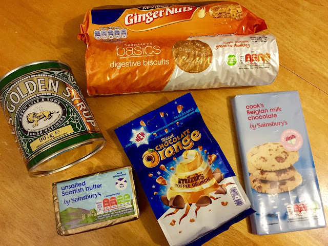 ginger and chocolate orange tiffin recipe ingredients