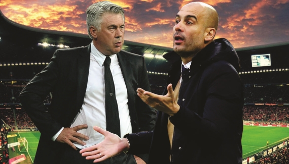 Pep Guardiola will take on his successor when Man City play Carlo Ancelotti's Bayern Munich.