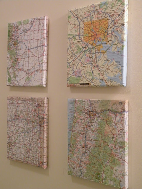 DIY map art on white wall