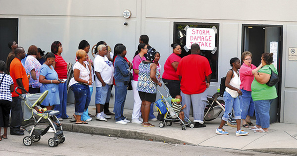 People in line for food stamps