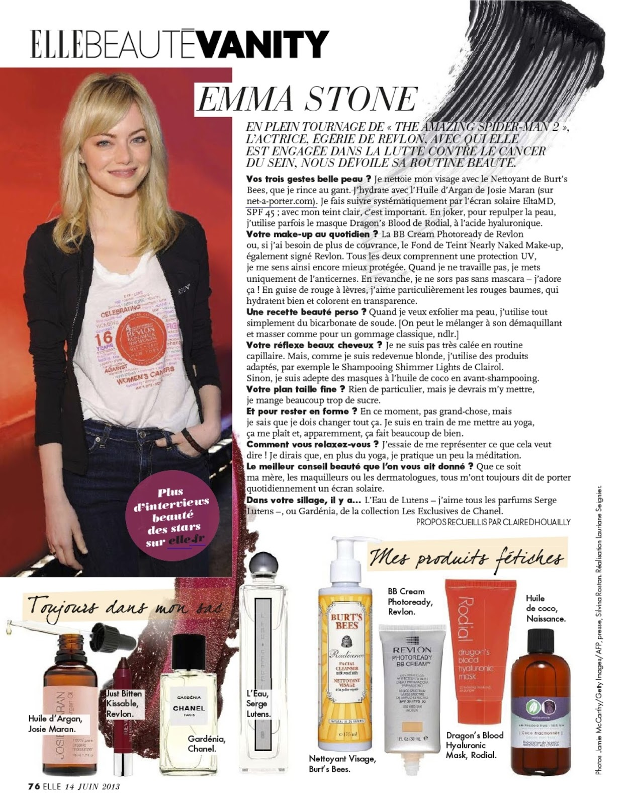 emma stone's beauty tips