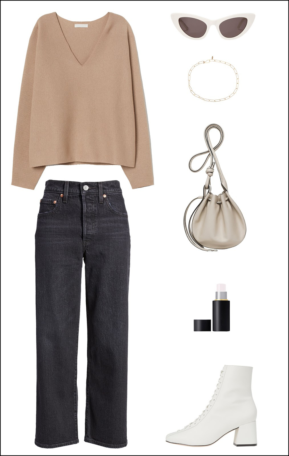 Everyday Spring Outfit Idea — Camel v-neck sweater, cat-eye sunglasses, chain necklace, black straight-leg jeans, grey mini bag, and white lace-up ankle boots
