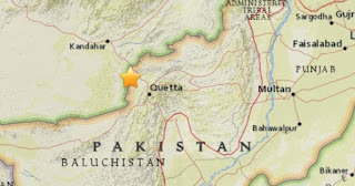 Earthquake epicenter map of Balochistan, Pakistan