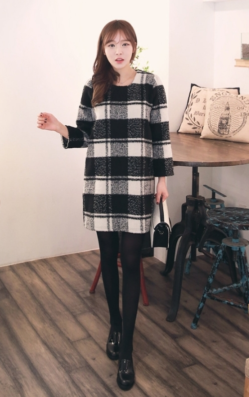 Windowpane Check Mini Dress