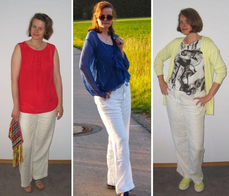 Weiße Marlenehose aus Leinen an großen Frauen kombiniert