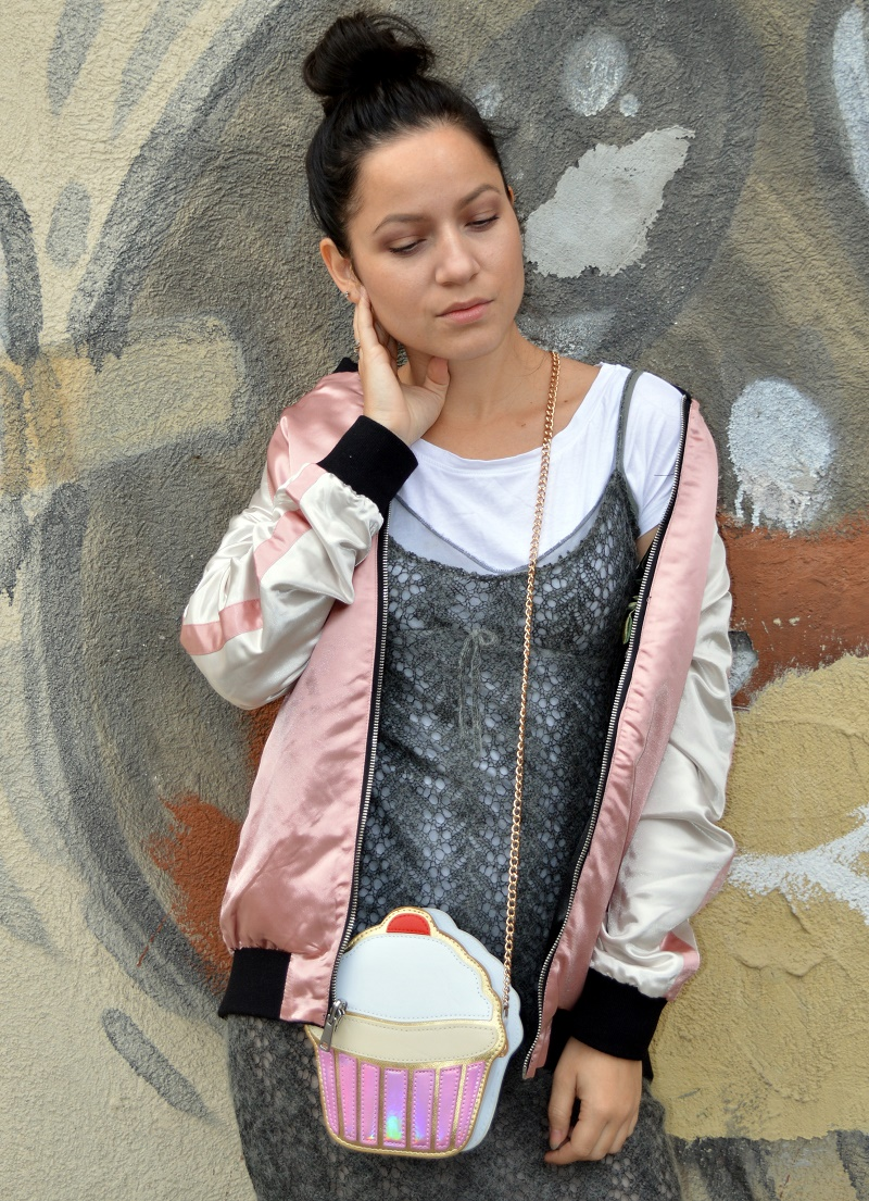 cupcake bag zara grey dress pink bomber jacket