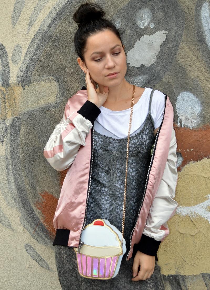 cupcake bag zara grey dress pink bomber jacket