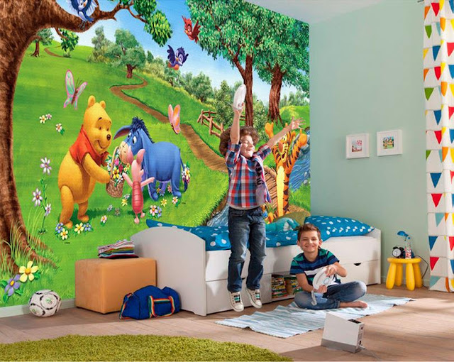 Winnie the Pooh wall mural 3d wallpaper children room bedroom cartoon boys