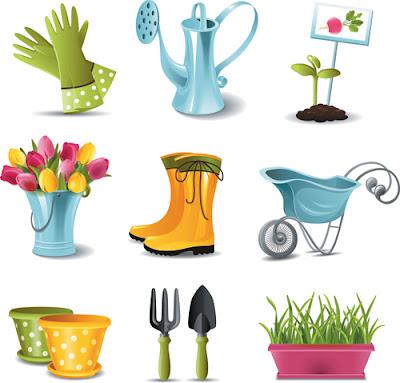 Elementos de jardín en vector