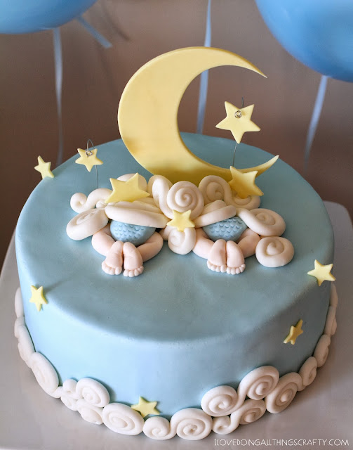 Celestial Twin Baby Shower Cake and Decor | DIY Cakes and Party Decor | SVGCuts Files
