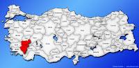 Denizli ilinin Türkiye haritasında gösterimi