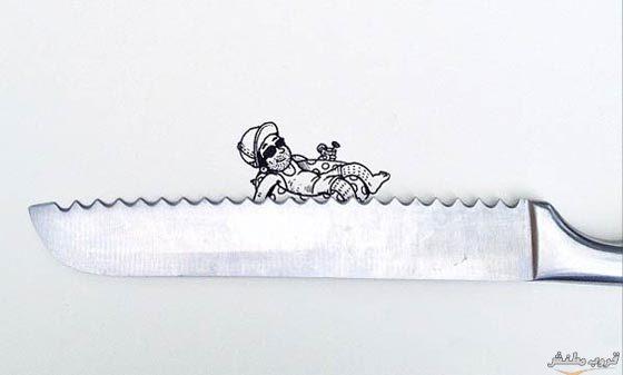 رجل يتبخر فوق أمواج السكين رسمة ثلاثية الأبعاد - ابتكارات غريبة وأفكار عجيبة يمكنك فعل مثلها