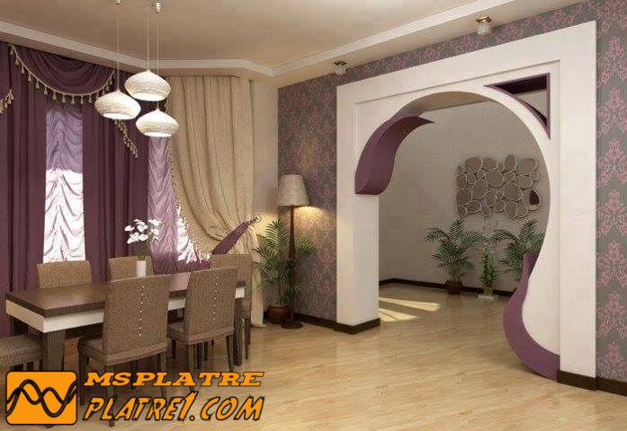 Photo pl tre plafond et arche decoration platre plafond - Decoration platre couloir ...