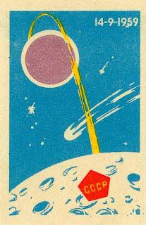Una cartolina commemorativa dell'impatto della sonda Luna 2 sulla Luna.
