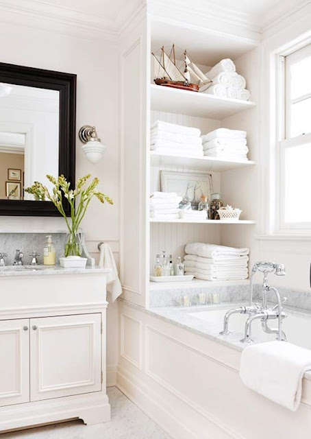 elegant bath - beadboard backed shelf {Cool Chic Style Fashion}