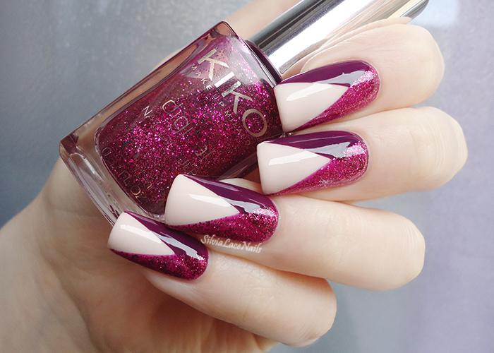 Pink glittery chevron nail art