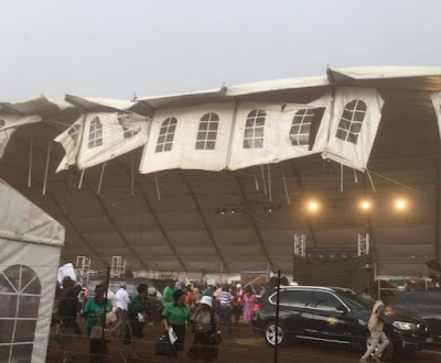 Jacob Zuma escaped tragedy as tent collapses during his speech